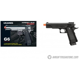 UKARMS G6 Hi-Capa 5.1 Spring Airsoft Pistol w/ Accessory Rail - BLACK