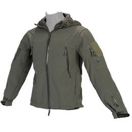 Lancer Tactical Airsoft Soft Shell Jacket w/ Hood - SAGE