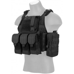 Lancer Tactical 600D Polyester Tactical Assault Vest - BLACK