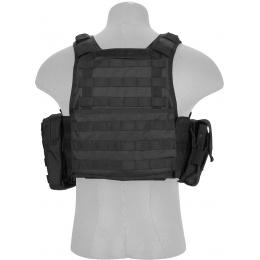 Lancer Tactical 600D Polyester Assault Plate Carrier Vest - BLACK