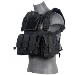 Lancer Tactical Airsoft M4 MOLLE Modular Chest Rig (Polyester) - BLACK