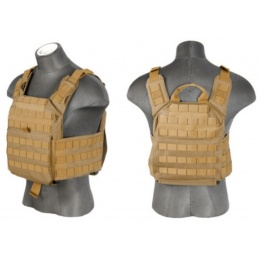 Lancer Tactical Speed Attack Airsoft Plate Carrier Vest - TAN