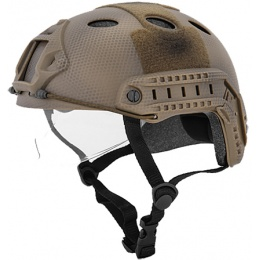Lancer Tactical Fast PJ Type Tactical Gear Helmet - Custom DE w/Visor
