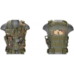 Lancer Tactical Airsoft Cross Draw Combat Vest w/ Holster - WOODLAND