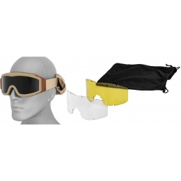 Lancer Tactical CA-203T Airsoft Goggles - OD TAN Frame w/ 3 - Lens Kit