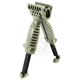 BattleAxe ACG Rapid Deploy Bipod Foregrip for Airsoft Rifles - OD