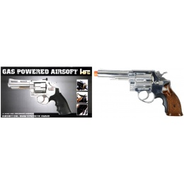 HFC Airsoft Gas Powered Revolver Pistol w/ 6 BB Shells - SILVER