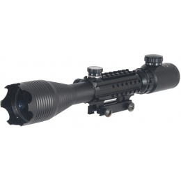 Double Eagle Airsoft Rifle 4 - 16x50 Tri - Rail Illuminated Scope - BLACK