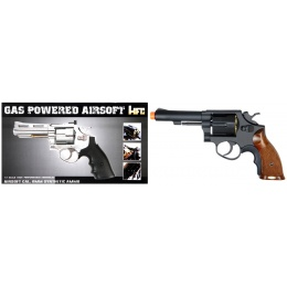 HFC Airsoft Gas Powered Revolver Pistol w/ 6 BB Shells - BLACK