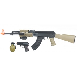 CYMA Airsoft Tactical AK47 AEG Package w/ Accessories - DARK EARTH
