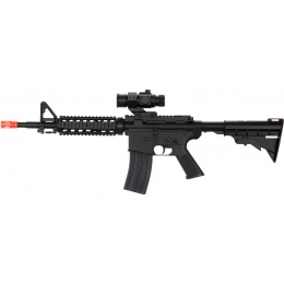 UK Arms Airsoft M4 AEG Adjustable LE Stock Quad RIS - BLACK
