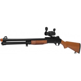 Airsoft Spring Powered Shotgun w/ Optics RIS Scope - WOOD