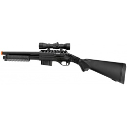 Double Eagle Airsoft Spring Tension Shotgun w/ Accessories - BLACK