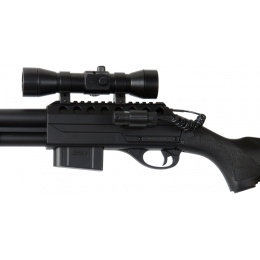 Double Eagle Airsoft Spring Tension Shotgun w/ Accessories - BLACK