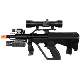 Double Eagle Airsoft M45P Spring Rifle w/ Laser, Flashlight, Scope