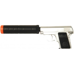 HFC Airsoft Gas Mini Pistol Non-BlowBack with Mock Suppressor - SILVER