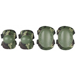 AMA Airsoft Knee and Elbow Protective Gear Set - WOODLAND CAMO