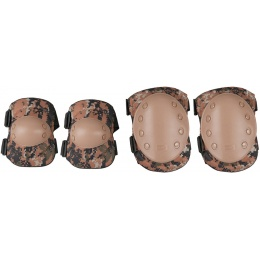 AMA Airsoft Knee and Elbow Protective Gear Set - WOODLAND DIGITAL