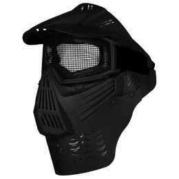G-Force Tactical Airsoft Face Mask w/ Wire Mesh Lens & Visor - BLACK
