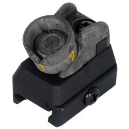 Dboys Airsoft 614 Iron Rear Sight w/ Rail System Attachment - BLACK