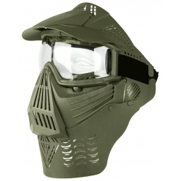 G-Force Tactical Airsoft Full Face Mask w/ Clear Lens & Visor - OD