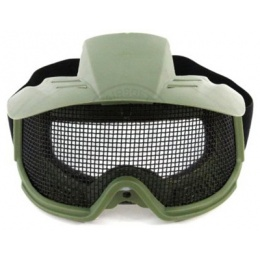 G-Force Tactical Airsoft Wire Mesh Goggles w/ Visor - GREEN