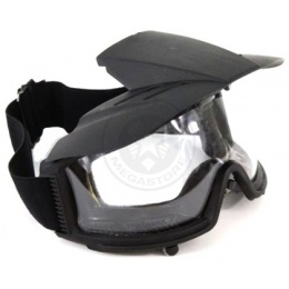G-Force Airsoft Clear Lens High-Impact Rated Goggles w/ Visor - BLACK