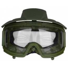 G-Force Airsoft Clear Lens High-Impact Rated Goggles w/ Visor - GREEN