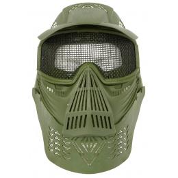 G-Force KING Full Face Extended Mesh Face Mask w/ Visor - OD GREEN