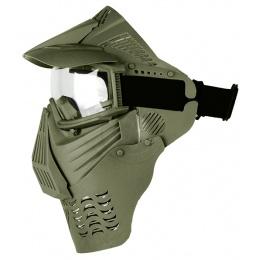 G-Force KING Full Face Extended Clear Face Mask w/ Visor - OD GREEN