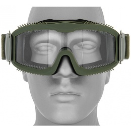 Lancer Tactical Airsoft  Safety Goggles w/ Clear Lens and Stylized Vents - OD GREEN