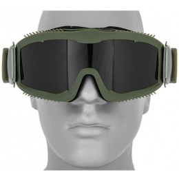 Lancer Tactical Airsoft  Safety Goggles w/ Smoke Lens and Stylized Vents - OD GREEN