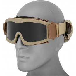 Lancer Tactical Stylized Vented Smoke Lens Airsoft Goggles - TAN