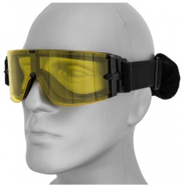 Lancer Tactical Airsoft Frameless Safety Goggles w/ Single Yellow Lens - BLACK