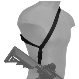 Lancer Tactical Airsoft Quick Detach 1-Point Weapon Sling w/Metal Hook - BLACK