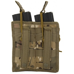 Lancer Tactical Airsoft Bungee Open Top Quad M4 Mag Pouch - CAMO