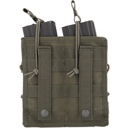 Lancer Tactical Airsoft Bungee Open Top Quad M4 Mag Pouch - OD GREEN