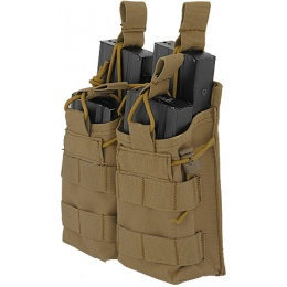 Lancer Tactical Airsoft Bungee Open Top Quad M4 Mag Pouch - TAN