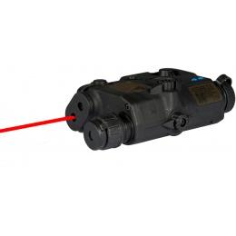 Airsoft PEQ-15 LED White Light + Red Laserr - BLACK