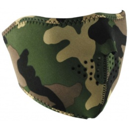 Zan Headgear Neoprene Protective Lower Face Mask - WOODLAND CAMO