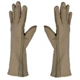 AMA Airsoft Leather Nomex Flight Gloves - MEDIUM - TAN