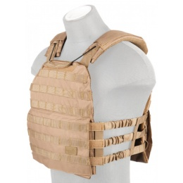 Lancer Tactical 600D Nylon Tactical Vest w/ Shoulder Straps (Tan)