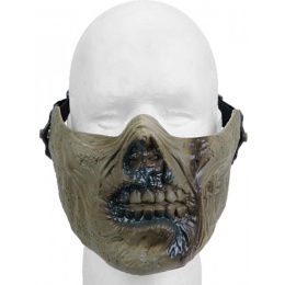 UK Arms Airsoft Half Face Full Mask - ZOMBIE GREEN
