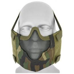 Black Bear Airsoft V8 Mesh Nylon Half Face Mask - WOODLAND CAMO