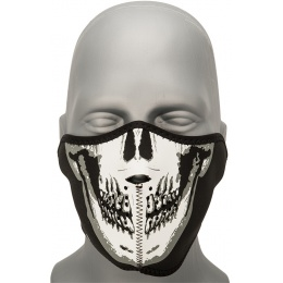 Zan Headgear Airsoft Glow in the Dark Half Mask - SKULL FACE