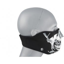Zan Headgear Airsoft Neoprene Chrome Skull Half Mask - BLACK / SILVER