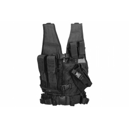 Lancer Tactical Airsoft Cross Draw Vest Youth Size w/ Holster - BLACK