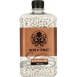 Krytac Airsoft 0.20g Polished 6mm BBs Bottle - 4000rds - WHITE