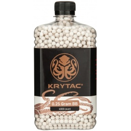 Krytac Airsoft 0.25g Polished 6mm BBs Bottle - 4000rds - WHITE