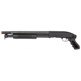 Double Eagle Airsoft Shotgun Metal with Tactical Pistol Grip - BLACK